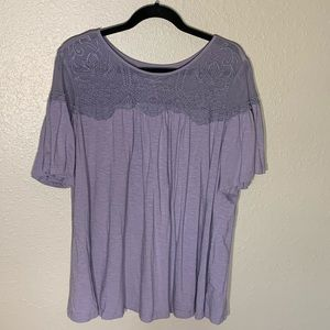 Sonoma Purple Shirt with Lace Accents Size 1X